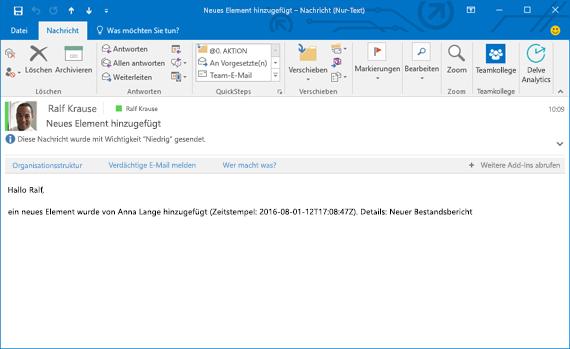 Die empfangene E-Mail, die auf dem Fluss basiert, der eine E-Mail sendet, wenn einer Liste ein neues Element hinzugefügt wurde.