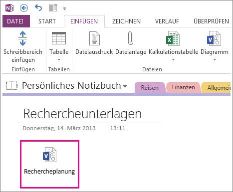 Einfügen eines Visio-Dateisymbols auf einer Seite