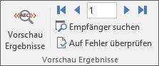 """In Word auf der Registerkarte """"Sendungen"""" die Gruppe """"Vorschau Ergebnisse""""."""