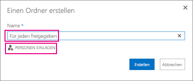 """Wählen Sie in OneDrive den Ordner """"Für jeden freigegeben"""" aus."""