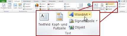 The Insert tab in Excel, with the insert WordArt button highlighted.