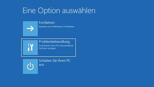 """Wählen Sie einen Bildschirm """"Option auswählen"""" in der Windows-Wiederherstellungsumgebung aus."""