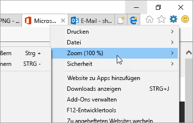 "Screenshot des Menüs ""Extras"" in Internet Explorer"