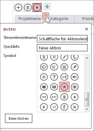 Dialogfeld ' Daten ' für eine benutzerdefinierte Aktion in einem Webdaten Blatt