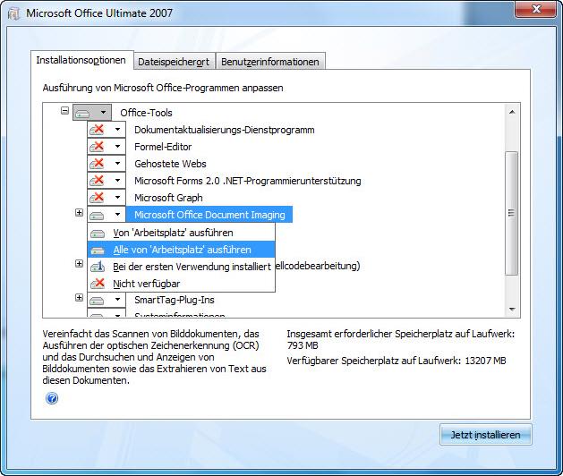 Screenshot, der den Speicherort von MODI während der 2007 Office-Installation anzeigt: