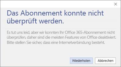 """Screenshot der Fehlermeldung """"Das Abonnement konnte nicht überprüft werden"""""""