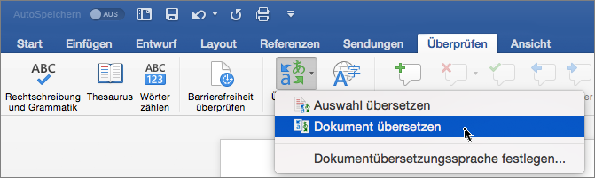 """Registerkarte """"Überprüfen"""" mit hervorgehobener Option """"Dokument übersetzen"""""""