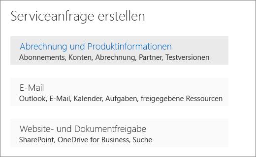 """Screenshot der erstellen Sie ein Menü Dienst anfordern, in der Office 365-Verwaltungskonsole mit ausgewählter Option """"Abrechnung und Produktinformationen""""."""