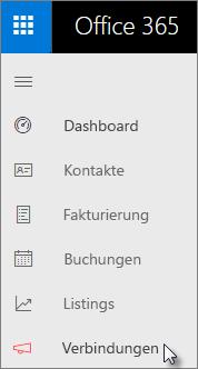 Wechseln Sie im linken Navigationsbereich im Business Center-Dashboard zu Connections.
