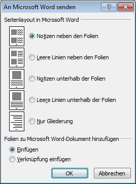 Dialogfeld 'An Microsoft Word senden'