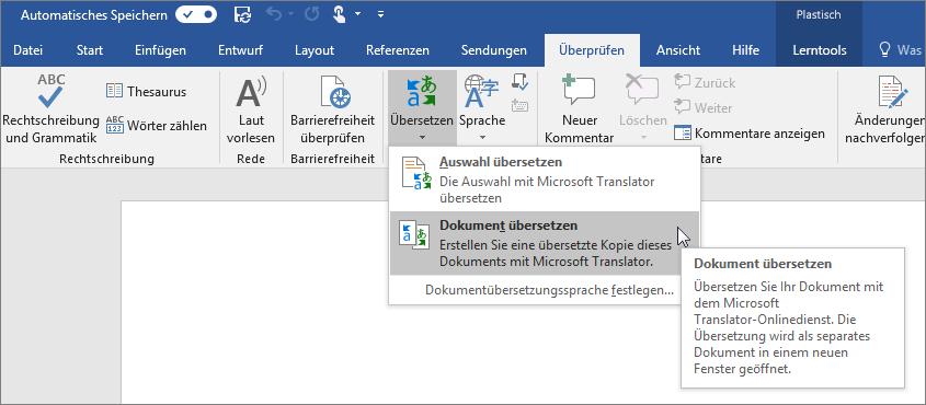 """Word-Menüband mit angezeigter Option """"Dokument übersetzen"""""""