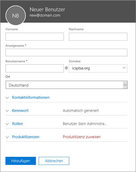Screenshot der Felder, die beim Hinzufügen eines Benutzers zu Office 365 Business auszufüllen sind