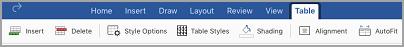 "iPad: Registerkarte ""Tabelle"""
