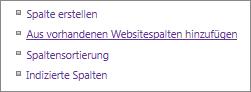 """Detailaufnahme des Links zum Hinzufügen vorhandener Spalten auf der Seite """"Einstellungen"""""""