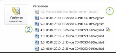 Versionsverlauf in der Backstage-Ansicht eines Microsoft Word-Dokuments