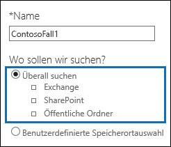 """Klicken Sie auf die Option """"Überall suchen"""", um alle Inhaltsspeicherorte zu durchsuchen."""