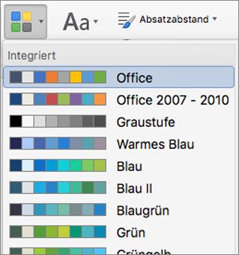 Farbe Optionen aus, wenn Sie auf die Schaltfläche Farben klicken