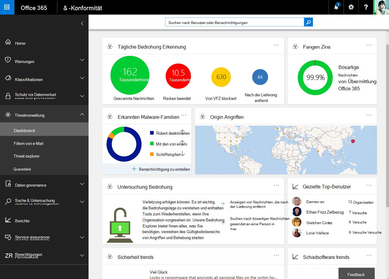 Sicherheit und Compliance Center-Dashboard