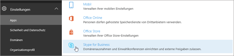 "Wählen Sie im Office 365 Admin Center die Option ""Skype for Business""."