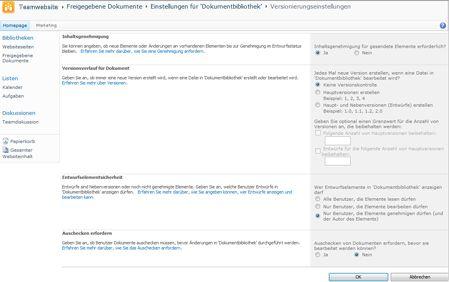 Seite 'Versionierungseinstellungen' mit Genehmigungsoptionen