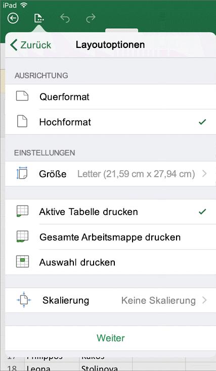 Im Druckeinstellungen-Dialogfeld in Excel für iOS können Sie konfigurieren, wie Ihr Arbeitsblatt gedruckt wird.