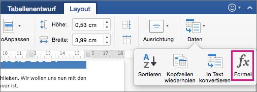 """Klicken Sie auf der Registerkarte """"Layout"""" auf """"Daten"""", um das Menü anzuzeigen, und klicken Sie dann auf """"Formel""""."""