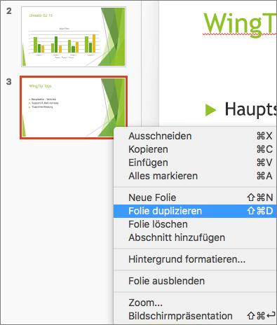 """Der Screenshot zeigt eine ausgewählte Folie und im Kontextmenü die ausgewählte Option """"Folie duplizieren""""."""
