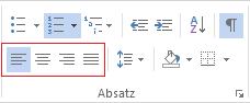 Die verschiedenen Absatzausrichtungsoptionen finden Sie auf der Registerkarte START.