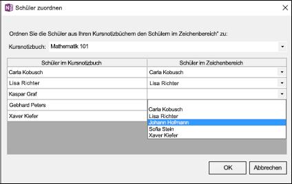 Screenshot der Zuordnung von Kursteilnehmern zum Zeichenbereich für Kursteilnehmernamen