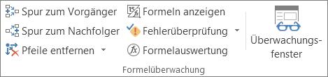 """Gruppe '""""Formelüberwachung""""' auf der Registerkarte """"Formeln"""""""