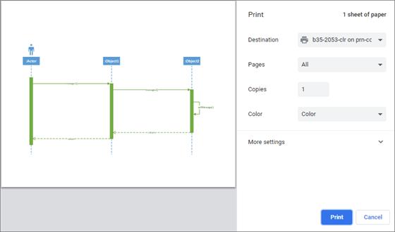 Das Erscheinungsbild des Druckfensters variiert je nach verwendetem Webbrowser etwas.