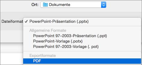 """Zeigt die Option """"PDF"""" in der Liste der Dateiformate im Dialogfeld """"Speichern unter"""" in PowerPoint 2016 für Mac."""