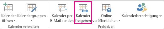 Schaltfläche 'Kalender freigeben' auf der Outlook 2013-Registerkarte 'Start'