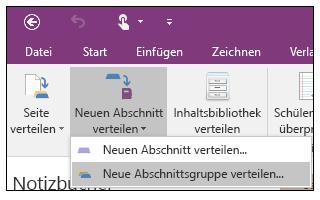 Screenshot zum Verteilen einer neuen Abschnittsgruppe im Add-In für OneNote-Kursnotizbücher.