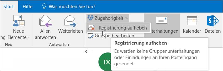 Benutzer können das Abonnement einer Gruppe kündigen, damit keine E-Mails mehr an ihren Posteingang gesendet werden.