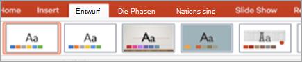 """Registerkarte """"Entwurf"""""""