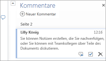 Kommentarthreads in Word Online