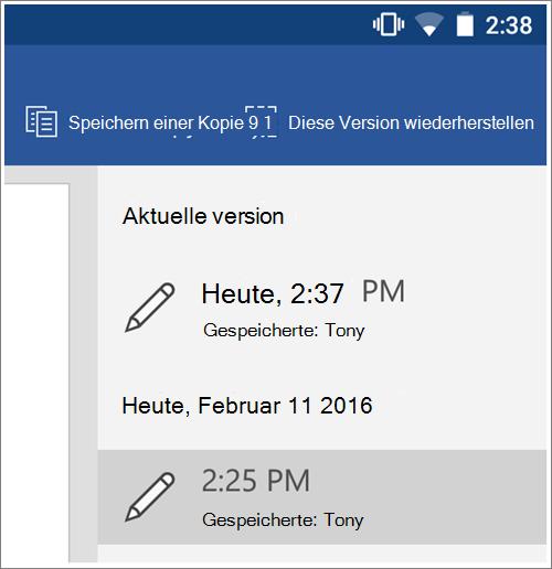"""Screenshot der Option """"Verlauf"""" frühere Versionen in Android wiederherstellen."""
