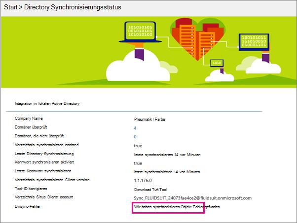 """Auf der Seite """"Verzeichnissynchronisierungsstatus"""" können Sie sehen, ob es DirSync-Objektfehler gibt."""