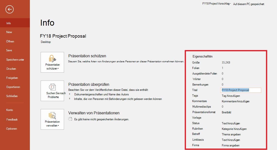 """Office-Dokumenteigenschaften, Datei > Bereich """"Info"""""""