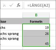 Beispiel für LÄNGE-Funktion