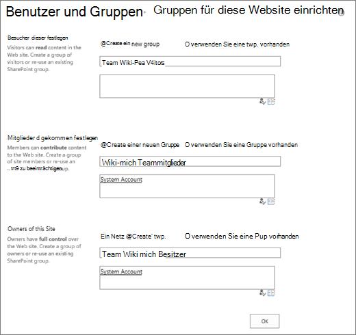 """Dialogfeld """"Gruppen für diese Website einrichten"""""""