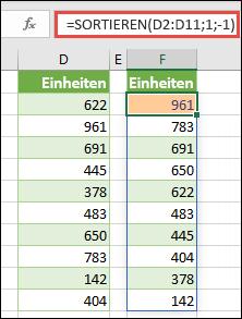 Sortieren Sie einen Bereich von Werten in absteigender Reihenfolge.