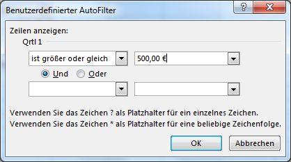 Dialogfeld 'Benutzerdefinierter AutoFilter'