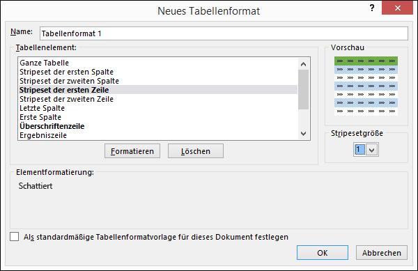 """Optionen im Dialogfeld """"Neues Ta ellenformat"""" für das Anwenden benutzerdefinierter Formate auf eine Tabelle"""