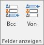 """Zum Deaktivieren des Felds """"Bcc"""" öffnen Sie eine neue Nachricht, wählen Sie die Registerkarte """"Optionen"""" aus, und wählen Sie dann in der Gruppe """"Felder anzeigen"""" die Option """"Bcc"""" aus."""