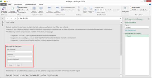 Excel Power BI, eingebettete Eingabesteuerelemente für einen Funktionsaufruf im Abfrage-Editor