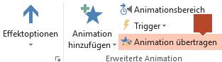 """""""Animation übertragen"""" ist im Symbolleisten-Menüband """"Animation"""" verfügbar, wenn ein animiertes Objekt auf einer Folie ausgewählt ist."""