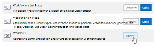 Aktivieren von Workflows Websitesammlungs-feature