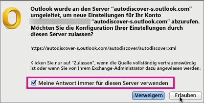 Meine Antwort immer für diesen Server verwenden